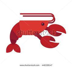 Red lobster flat illustration. Geometric cartoon style.