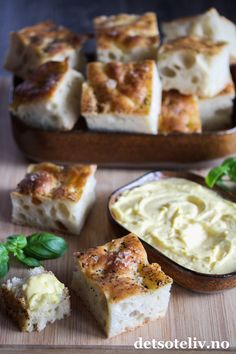 - Focaccia - yeasted, serve with aioli or whipped butter Whipped Butter, Aioli, Good Mood, Camembert Cheese, Tapas, Baking, Sweet, Candy, Bakken