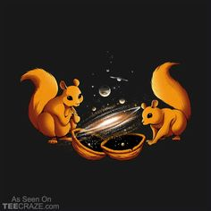 Universe In A Nutshell T-Shirt Designed by Tobe_Fonseca. #TeeCraze #Funny #Squirrel #Space #Universe #tshirt