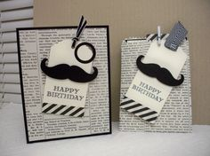 """Mustache Treat Bag  by Donna Wicks; Stamps: Guy Greetings Paper: Basic Black, Very Vanilla, DSP Typeset Ink: Memento Black Accessories: Punch: Ornate Tag Topper, Circle 3/4"""" and 1"""", Ribbon 1/8"""" B. Black Taffeta, Black Chevron, Framelits: Mustache and Mini Treat Bag, Metallic Clothespin (silver), Stapler, Dimensionals"""