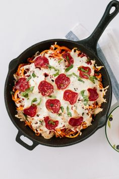 Feed your pizza cravings with this Spiralized Sweet Potato Pizza Bake With Turkey Pepperoni recipe.