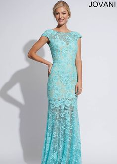 Jovani 88435 Aqua/Nude/Blue Dress: Long, High Neck