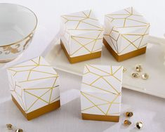 White and Gold Geometric Favor Box (Set of 24) By Kate Aspen