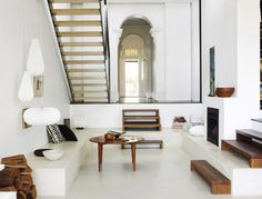 stairs, wood, white interior, lamps