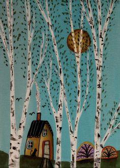 Blue Sky ORIGINAL Canvas Panel PAINTING FOLK ART 5 x 7 Birch Trees Cat Karla G #FolkArtAbstractPrimitive