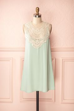 Adalynn - Pastel mint green short tunic dress with ivory lace neckline