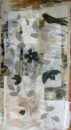 blueberrymodern: mandy pattullo - gallery two, uk (via caterinagiglio) Collage Kunst, Collage Art, Textile Fiber Art, Textile Artists, Fabric Art, Fabric Crafts, Bird Quilt, Creative Textiles, Fabric Journals