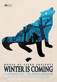 Illustrated poster - House of stark presents: Winter is coming - Game of thrones series Game Of Thrones Poster, Game Of Thrones Series, Game Of Thrones Art, Game Of Thrones Illustrations, Z Book, The North Remembers, Game Of Thrones Houses, Poster Series, Winter Is Coming