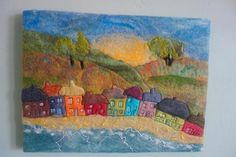 felted picture felt wall art beach picture wool picture fibre