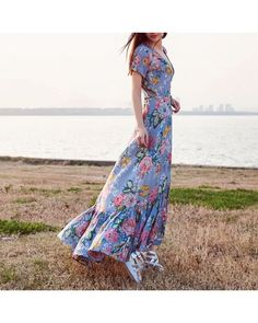 Caroline Buttoned Floral Maxi Dress    A gorgeous flowy piece with feminine floral print & frilly hem feature in a curve loving silhouette. Perfect for day or nite outing with your fav pair of sandals!  • Front buttons closure  • Waist strap tye  • Weight: 280 gram  Material: Cottom blend    $46