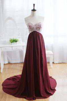 Wine Red Burgundy Chiffon Bridesmaid Dress / Prom Dress / Strapless Beaded Dress