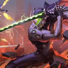 Genji Action - Tap to see more Overwatch Wallpapers Paladins Overwatch, Overwatch Genji, Overwatch Comic, Overwatch Memes, Overwatch Fan Art, Guerrero Dragon, Game Character, Character Design, Genji And Hanzo