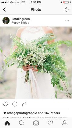Would like a scaled down version with varied fern types for bridesmaid bouquets