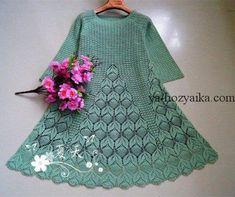 Платье с ажурными листиками