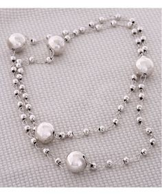 Sterling silver long beaded necklace