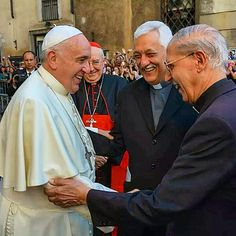 "James Martin SJ | (9/28/14) Benvenuto! Adolfo Nicolas, SJ, Superior General of the Society of Jesus, welcomes Pope Francis to the Church of the Gesu in Rome yesterday. At the Gesu the Pope celebrated Vespers to commemorate the 200th anniversary of the ""Restoration"" of the Jesuit Order."