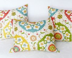 Colorful Suzani Pillow Covers Decorative  by PillowThrowDecor, $35.00