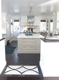 Grey island color with white counters (Kitchen.