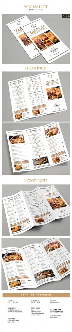 Trifold Brochure Minimalis Menu Template PSD, Vector AI. Download here: http://graphicriver.net/item/trifold-brochure-minimalis-menu/15454774?ref=ksioks