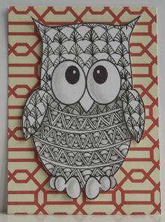 trying a zentangle owl on my canvas.  think it'll be cute!!
