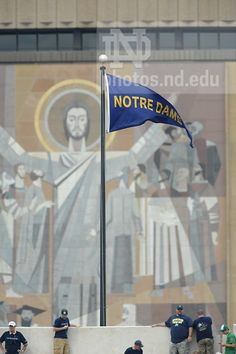 """Touchdown Jesus as seen from ND Stadium on a football Saturday. Like the Irish?  Be sure to check out and """"LIKE"""" my Facebook Page https://www.facebook.com/HereComestheIrish  Please be sure to upload and share any personal pictures of your Notre Dame experience with your fellow Irish fans!"""