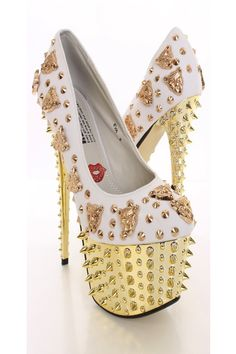 White Animal Charm Spiky Platform Pump Heels