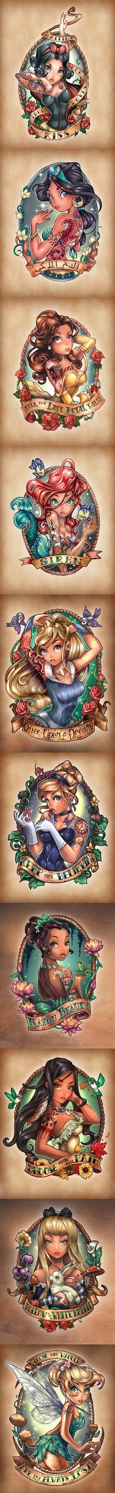 Disney Princess Tattoos (would never get but still kinda neat to look at!)