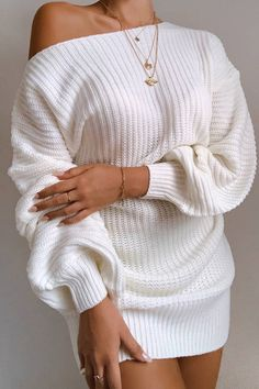 Unlined. Long Sleeve Sweater Dress, Knit Sweater Dress, Sweater Dresses, White Sweater Outfit, White Oversized Sweater, White Jumper, Sweater Shirt, Dress Shirt, Mode Outfits
