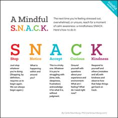 mindfulness snack stop notice accept curious kindness stress takeabreak bemindful stressrelief awareness bepresent therapsy_gr Mindfulness For Kids, Mindfulness Activities, Mindfulness Practice, Mindfulness Therapy, Teaching Mindfulness, Mindfulness Benefits, Mindfulness In Schools, Mindfulness Coach, Mindfulness Training