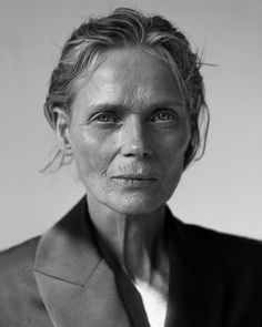 black and white photo of a beautiful older woman by Evelyn Bencicova