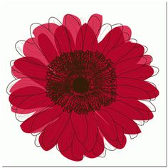 Single Flower- Red Art Print   Overstock.com