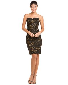 Theia Burnished Gold Jacquard Strapless Dress