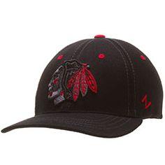 Chicago Blackhawks Black Infared Feathers Adult Fitted Hat by Zephyr #Chicago #Blackhawks #ChicagoBlackhawks