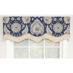 Accentuate your windows with this magnificent glory valance! This Window Valance fabric features an incredible indigo background with a medallion-like motif in shades of white, blue, and green. The valance is Tier Curtains, Long Curtains, Valance Curtains, Valance Ideas, Curtain Ideas, Drapery Ideas, Burlap Curtains, Drapery Panels, Bathroom Curtains