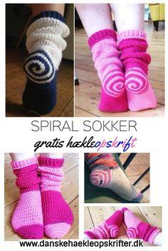 Gratis dansk hækleopskrift på spiral sokker. Find den og mange andre hos Danske Hækleopskrifter.