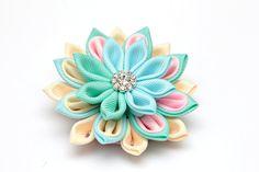 Pastel kanzashi brooch Kanzashi flower brooch mint by FlosMollis