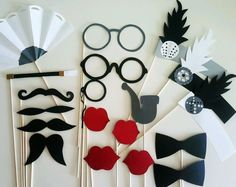 20,s Charleston Inspired Vintage Flapper Party Photo Booth Props.  Paper Craft Inspirations For Photo Booth Riot.  DIY paper or sewing crafts.  Party decorations, favors, activities or photo props.  Great idea for kid and family fun.