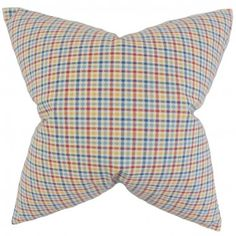 Decorate your living or bedroom with this multicolored toss pillow. This accent piece features a plaid pattern in shades of red, yellow, blue, and white. Ideal for indoor use, it is made of 100% high-quality cotton fabric. Crafted in the USA. $55.00 #pillows #homedecor #tosspillow #interiorstyling