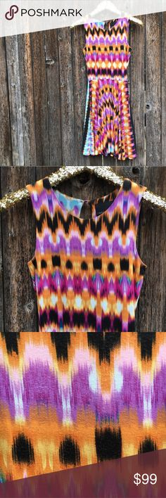 """{Cynthia Rowley} Aztec Watercolor Skater Dress XS EUC! Very minor wash wear on bodice, not noticeable at all! Otherwise pristine! Bright, bold and BOHO with Cynthia's preppy flare. Skater dress in fun print, high quality fabric, scoop neck and keyhole back. A truly perfect everyday dress that effortlessly dresses up or down. Measurements: 15"""" pit to pit, 39"""" shoulder to hem length, 11"""" waist, 8"""" arm opening. Very stretchy, jersey like fabric. Fabric content + care shown in photos. Offers…"""