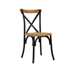 Cross Back Bentwood Metal Chair in Light Timber