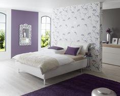 Modelo 6455-20. Color blanco con flores en violeta y gris metálico. #Papeltapiz #Tiendaenlinea #Decoracion