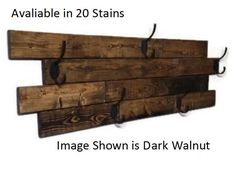 Renewed Decor Farmhouse Large Horizontal Hanging Plank Coat Rack with 5 heavy duty double hooks, 19 stain colors available Recycled Pallets, Wood Pallets, Recycled Wood, Pallet Wood, Barn Wood, Towel Hanger, Wall Hanger, Towel Hooks, Diy Coat Rack