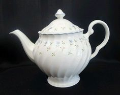 Johnson Brothers Vintage Teapot floral swirl pattern white blue flowers England