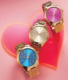 Colorful Michael Kors watches, just in time for Valentine's Day