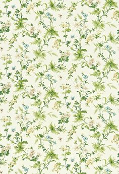 Primrose Hill (221941) - Sanderson Fabrics - A beautiful fresh multicoloured trail of wild flowers and ferns, evoking summer country walks. Shown in the Crean / Olive colourway. Please request sample for true colour match.