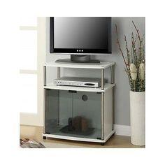 White TV Stand Flat Screen TV Stand Glass Doors Modern Small Wood Corner Console   eBay