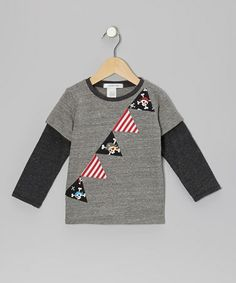 Take a look at this Heather Gray Pirate Banner Layered Tee - Toddler & Kids by Wonder Me on #zulily today!