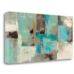 Tangletown Fine Art 'Teal and Aqua Reflections v2' by Silvia Vassileva Painting Print on Wrapped Canvas