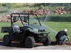 New 2014 Kymco UXV 700i TURF ATVs For Sale in New York. The UXV 700i TURF, Powered by our all new 695 cc fuel-injected liquid-cooled 4-stroke SOHC 4-valve engine, the UXV TURF IRS 4x4 features push-button on-demand 2WD/4WD, an automatic CVT (H-L-N-R-P) independent dual A-arm suspension with differential lock both fore and aft for easier, lighter turns, perfect for home yard use or commercial landscape applications. Hydraulic dual-disc front and shaft-mounted hydraulic disc rear brakes and…