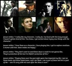 Jensen Ackles is the biggest Dean stan in this fandom.